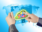 Cloud computing touchscreen interface — Stock Photo
