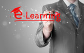 Business man writing e-learning concept — Stock Photo