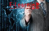 E-öğrenme kavramı yazma iş adamı — Stok fotoğraf