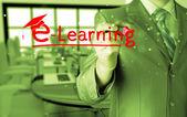 Geschäftsmann, die Schreiben von e-Learning-Konzept — Stockfoto