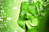 商务男人手持智能电话和发送电子邮件 — 图库照片