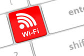 Wifi internet button for hotspots or connections. — Stock Photo