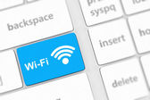 Wifi concepts, with message on enter key of computer keyboard. — Stock Photo