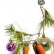 Branch with Christmas toys — Stock Photo #6373449