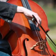 Close up musician hands with cello - Stock Photo