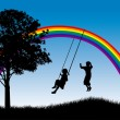 Stock Vector: Kids playing under rainbow