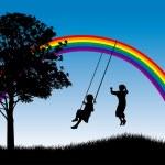 Kids playing under rainbow — Stock Vector #19999165