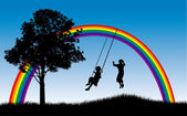 Kids playing under rainbow — Stock Vector
