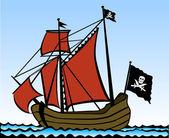 Piratskepp — Stockvektor