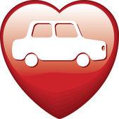 Heart Shape with car — Stock Vector