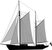 Two masted ketch — Stock Vector