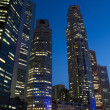 Stock Photo: Singapore downtown skyscrapers at evening
