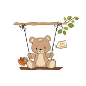 Baby shower card with teddy bear in a swing — Stock Photo