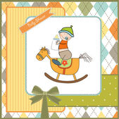 Baby boy shower shower with wood horse toy — Stock Photo