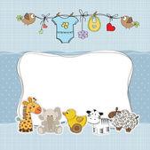 Cartão de chuveiro do bebê menino — Foto Stock