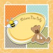 Stock Photo: Cartoon baby shower card with teddy bear