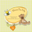 Cartoon baby shower card with teddy bear — Stock Photo