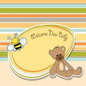 Oyuncak ayı ile karikatür bebek duş kartı — Stok fotoğraf