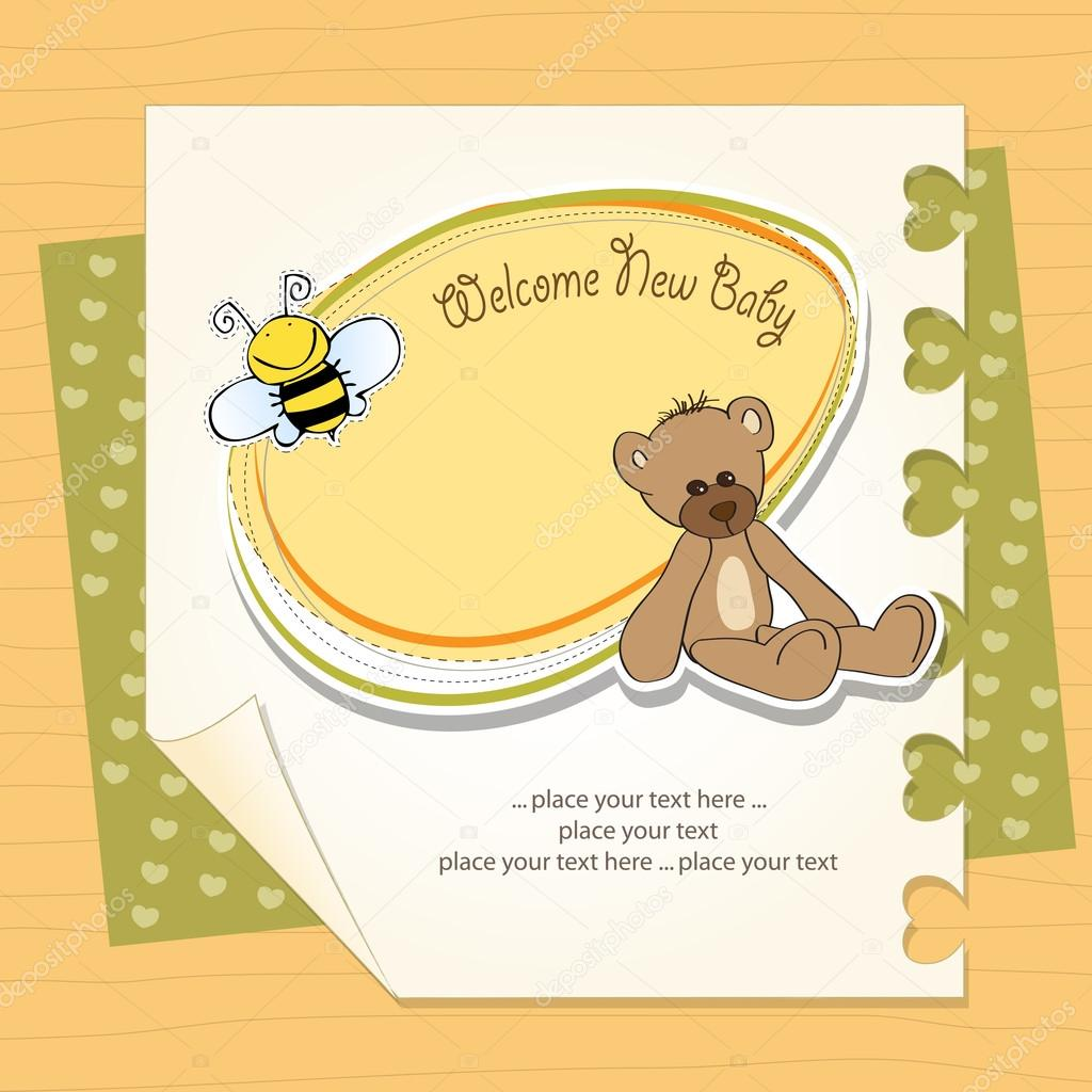 Cartoon baby shower card with teddy bear — Stock Photo #13410739