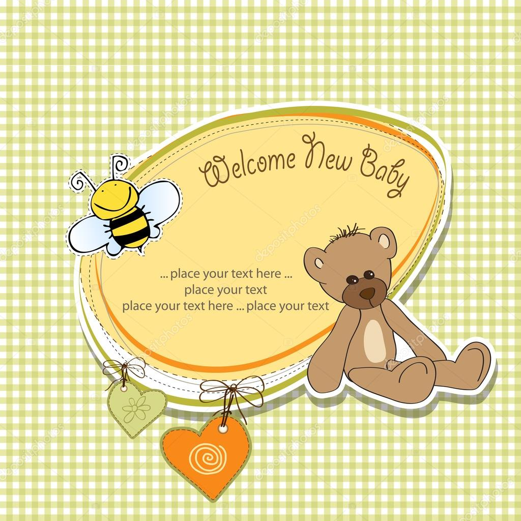 Cartoon baby shower card with teddy bear — Stock Photo #13410897
