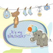 Royalty-Free Stock Photo: Baby boy birthday card with elephant and balloons