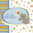 Stock Photo: Baby boy birthday card with elephant and balloons