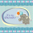 Baby boy birthday card with elephant and balloons — Stock Photo