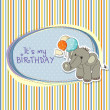 Baby boy birthday card with elephant and balloons — Stock Photo #13443201