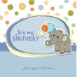 Baby boy birthday card with elephant and balloons — Stock Photo #13443207