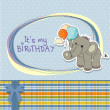 Baby boy birthday card with elephant and balloons — Stok fotoğraf