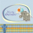 Baby boy birthday card with elephant and balloons — Stock Photo #13443240