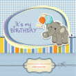 Baby boy birthday card with elephant and balloons — Foto Stock