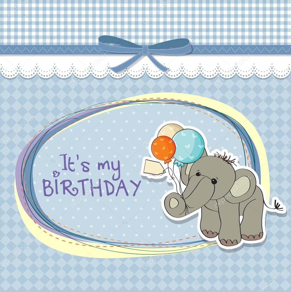 Baby boy birthday card with elephant and balloons  Stock Photo #13443182