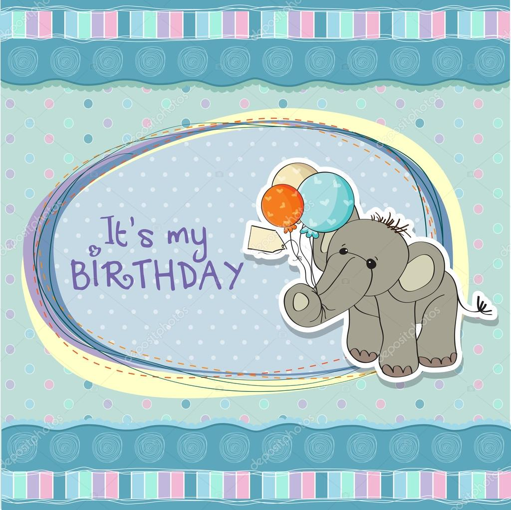 Baby boy birthday card with elephant and balloons — Stock Photo #13443184
