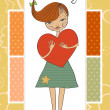 Romantic young girl with big heart — Stock Photo