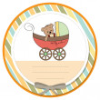 Funny teddy bear in stroller, baby announcement card — Stock Photo