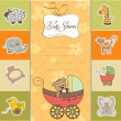 Funny teddy bear in stroller, baby announcement card — Stock Photo #13942021
