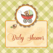Funny teddy bear in stroller, baby announcement card — Foto Stock