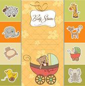 Funny teddy bear in stroller, baby announcement card — Stock Photo