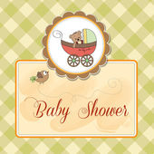 Funny teddy bear in stroller, baby announcement card — Стоковое фото
