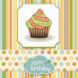 Stock Photo: Cute happy birthday card with cupcake. vector illustration