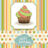 Cute happy birthday card with cupcake. vector illustration — Stock Photo