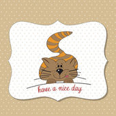 Cute kitty wishes you a nice day — Stock Photo