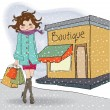 Fashion winter girl with shopping bags — Stock Photo