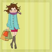 Beautiful young woman at shopping — Stock Photo