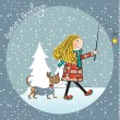 Stock Photo: Funny girl and her dressed dog in a beautiful Christmas card