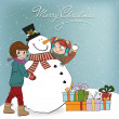 Two happy girls building a snowman  Vector illustration — Stock Photo