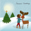 Photo: Christmas card with cute little girl caress a reindeer Vector illustration