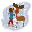 图库照片: Christmas card with cute little girl caress a reindeer Vector illustration