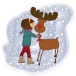 Julkort med söt liten tjej smeka en renar vektor illustration — Stockfoto